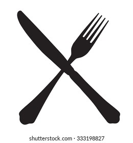 Black silhouette of crossed fork and knife icon raster isolated.