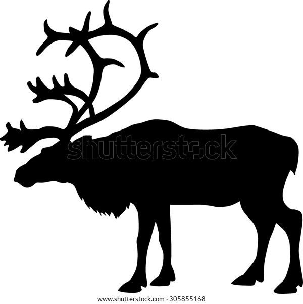 Black silhouette of a deer, like the caribou