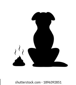 Black silhouette of a dog sitting and a turd lies on the floor
