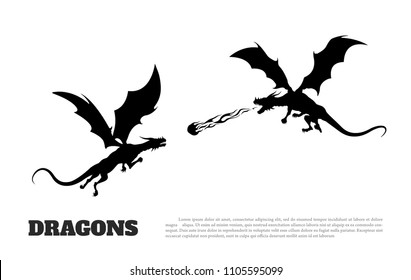 Black silhouette of dragons battle on white background. Fantasy monster. Knights tales