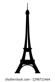 Black silhouette of the Eiffel Tower on a white background.