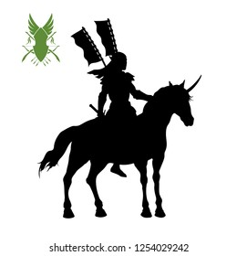 Black silhouette of elven knight with banner. Fantasy warlord character. Games icon of elf on unicorn. Isolated drawing of warrior