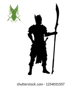 Black silhouette of elven knight with spear. Fantasy character. Games icon of elf with weapon. Isolated drawing of warrior