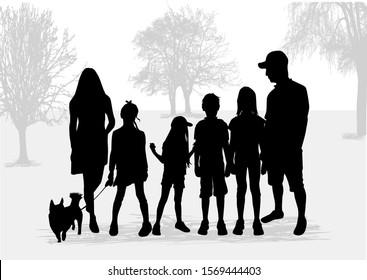 Black silhouette of family.  Conceptual illustration.
