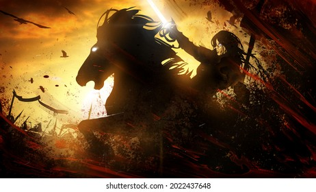 The black silhouette of a female knight rushing into battle with a sword on a powerful black horse, around her the spears of a crow and the madness of the battle. on the background of an orange sunset