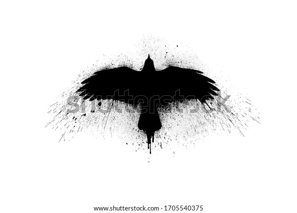 Black silhouette of a flying raven with spread wings with paint splashes, splatters and blots isolated on a white background.
