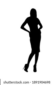 Black silhouette of glamour woman showing new designer evening dress