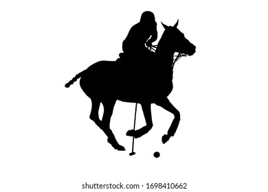 Black silhouette of horse polo player riding the galloping horse with mallet in the hand prepeared for kick on a ball