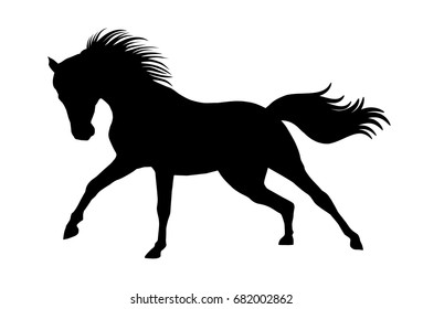 Black silhouette of horse with swinging mane and tail