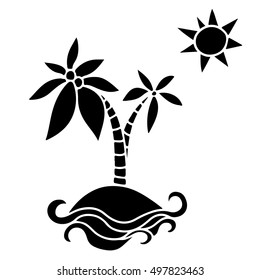 Black silhouette, icon island with coconut palm trees, sea, beach, water, waves, sun isolated. Hand drawn