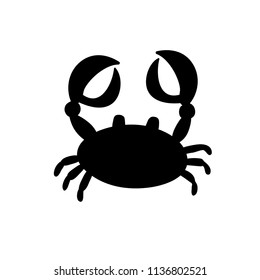 black silhouette illustration of crab or cancer icon isolated on white background.