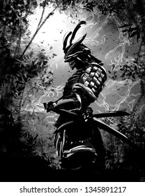 Black silhouette of a Japanese warrior against the night forest