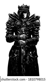 The black silhouette of a knight king with a sword, his face is scarred, he is wearing beautiful armor with patterns. 2D illustration.