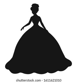 black silhouette of a lady in a magnificent dress with a hairstyle