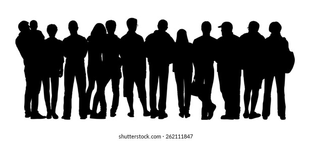 black silhouette of a large group of different people standing outdoor in different postures, back view