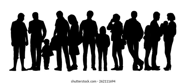 black silhouette of a large group of people with children standing outdoor in different postures