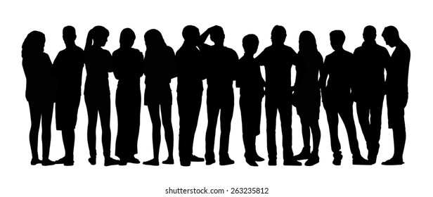 black silhouette of a large group of young people talking standing in different postures