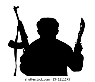 The black silhouette of man armed with kalashnikov and knife isolated on a white background.