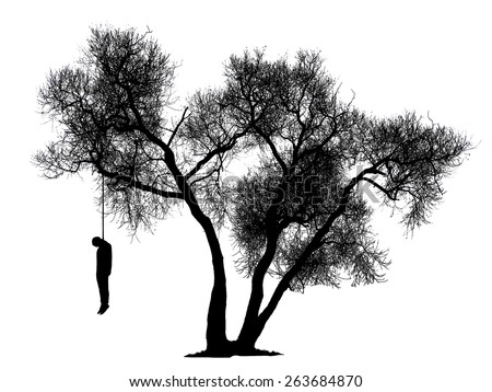 Black Silhouette Of A Man Hanging From Tree On White Background Contours Hanged