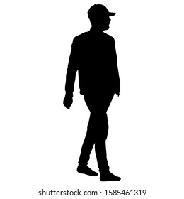 Black silhouette man on a white background