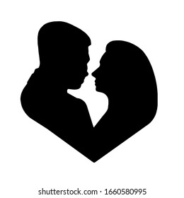 black silhouette of a man and a woman in the shape of a heart isolated on a white background