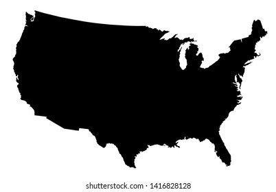 A black silhouette map of The United States of America over a white background