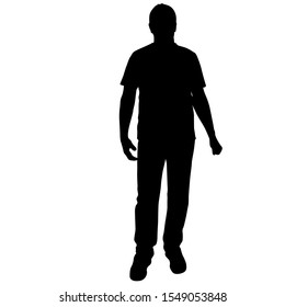 Black silhouette men standing, people on white background