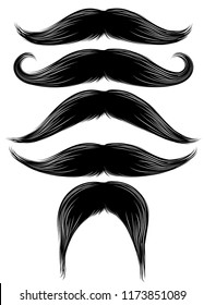 Black silhouette of the mustache set isolated on white. Vintage engraving stylized drawing