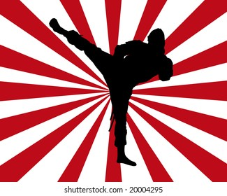 Black silhouette of a ninja on a red and white background