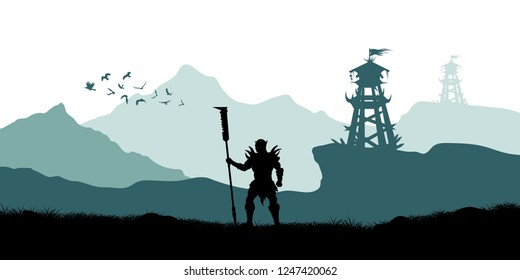 Black silhouette of orc warrior on background of tower. Fantasy landscape. Medieval panorama. Scene with battle watchtower