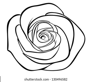 black silhouette outline rose, isolated on white. A copy of the vector format in the profile's