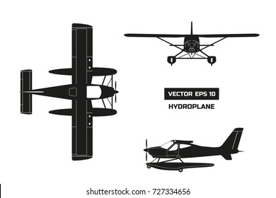 Black silhouette of plane on white background. Cargo aircraft. Industrial drawing of hydroplane. Top, front and side view.