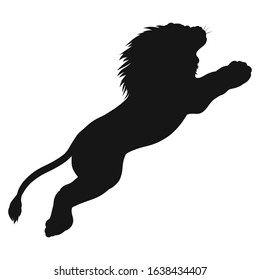 black silhouette of a powerful lion leaping up
