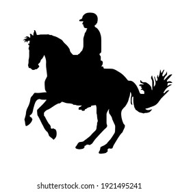 black silhouette of a rider isolated on a white background