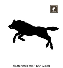Black silhouette of running wolf on white background. Forest animals. Detailed isolated image