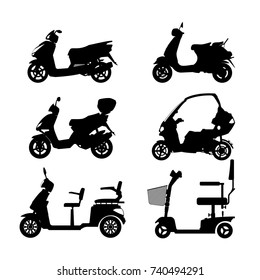 Black silhouette of scooter on white background. Side view. Set of images of city motorcycles.