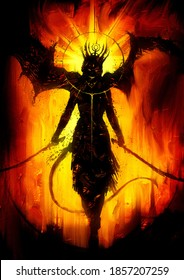 A black silhouette of a sinister demoness with huge wings, gracefully walking forward with two sabers at the ready, gracefully waving her tail, against a fiery hellish background. 2D illustration.