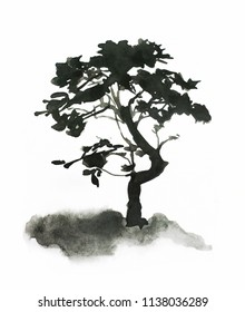 Black silhouette of a tree on a white background, watercolor or ink drawing.