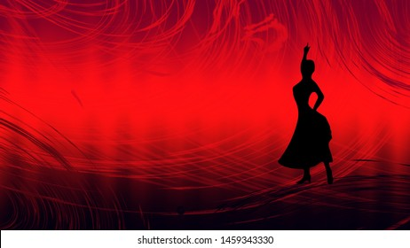 Black silhouette of woman dancing flamenco on black-and-red background with patterns and scratches. Female spanish dancer flamenco posture with hand up. Raster illustration.