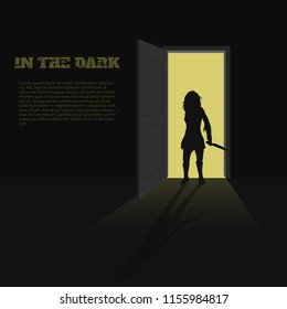 Black silhouette of woman with knife in hand on door background. A poster for book, game or movie. A terrible killer. Nightmare zombies.