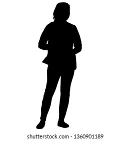 Black silhouette woman on a white background.