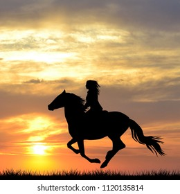 Black silhouette of a woman riding a horse at sunrise