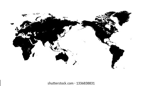 Black silhouette of a world map on a white background with the closest possible to the exact contour. Variant of a template for use in an industrial interior.