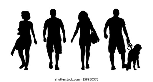 black silhouettes of 2 young men and 2 women walking in the street front and back view