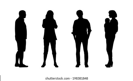 black silhouettes of adult men and women standing outdoor in different postures, front and profile views