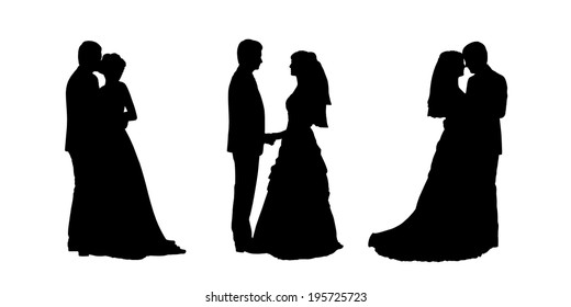 black silhouettes of bride and groom together in various postures, profile views