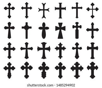 black silhouettes of different crosses, various religious symbols