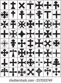 Black silhouettes of different Religious crosses set