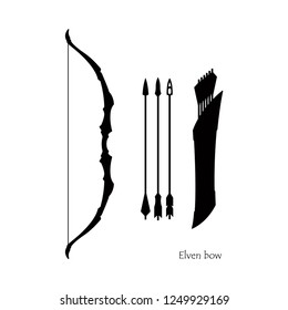 Black silhouettes of elven bow with arrows on white background. Icon of hunters weapon. Fantasy archery equipment
