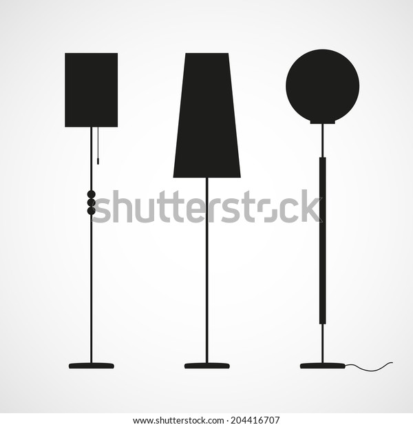 Black silhouettes of floor lamps